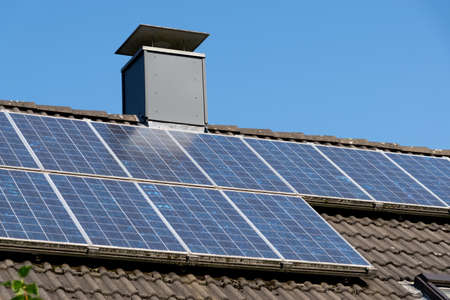Solar plant on a roof Stock Photo