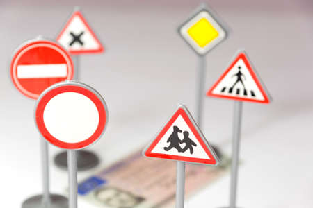 Driver's license and various traffic signs