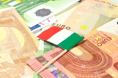 Flag of Italy and many Euro bills