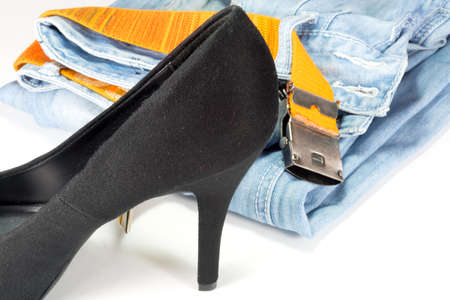 Jeans and high heels Stock Photo