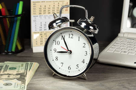 Money dollar, computer and watch