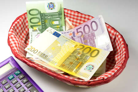 Euro money in the basket and calculator
