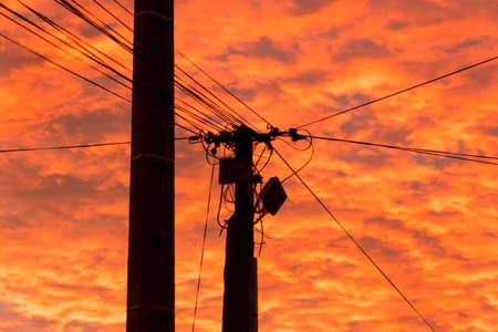High voltage pylon against the sky Stock Photo