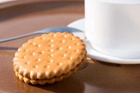 Morning coffee and cookie Stock Photo