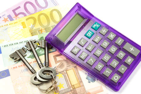 indebtedness: Euro money, calculator and keys Stock Photo