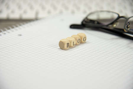 Blank notebook and internet blog Stock Photo