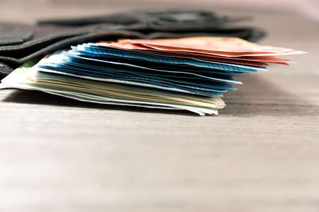 Euro money and wallet Stock Photo