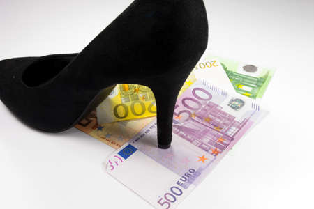 Euro money and black womens high heels shoes