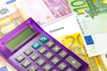 Euro money, calculator and call to pay