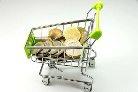 budgetary: Shopping cart and many euro coins Stock Photo