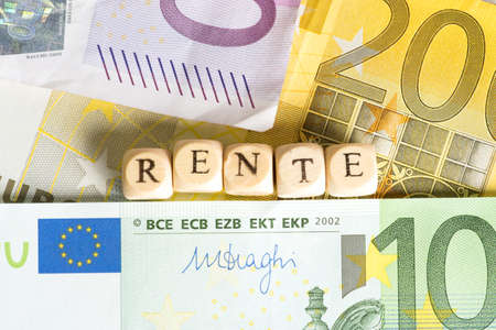 basic care: Many Euro banknotes and German pension Stock Photo
