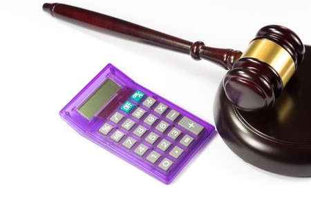 handcuffs: Calculator and a gavel