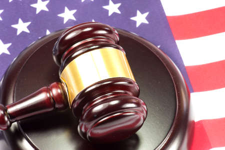 handcuffs: American flag and a gavel