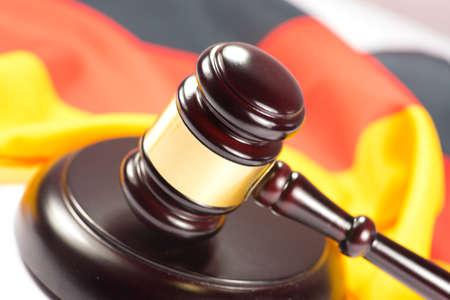 German flag and a gavel