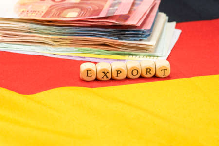 indebtedness: German flag, euro money and export Stock Photo