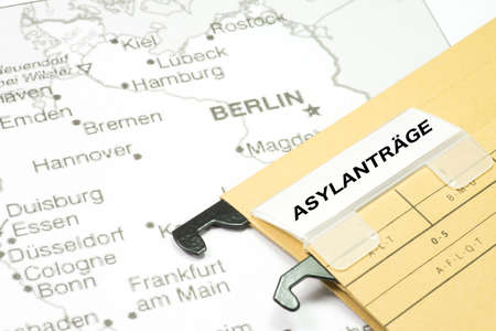 The map of Germany and asylum application