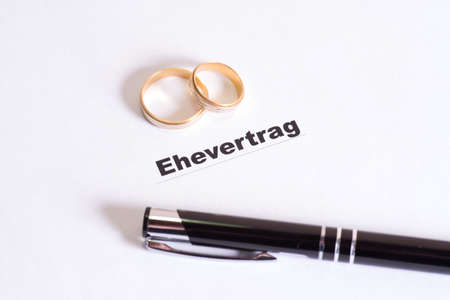 articles: Wedding rings, marriage articles and pen