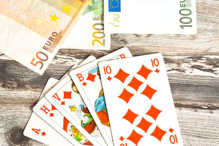 Euro money and card Stock Photo