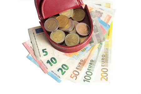 Euro money and purse