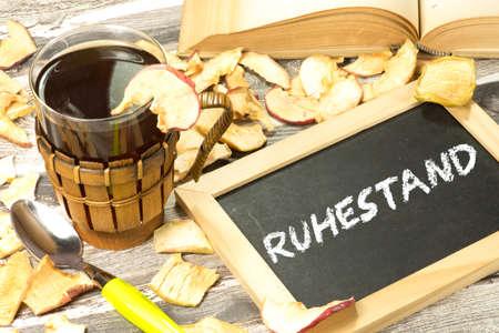 退職のためのドイツ語の単語を持つチョーク ボード