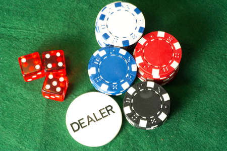 Poker chips in a casino Stock Photo