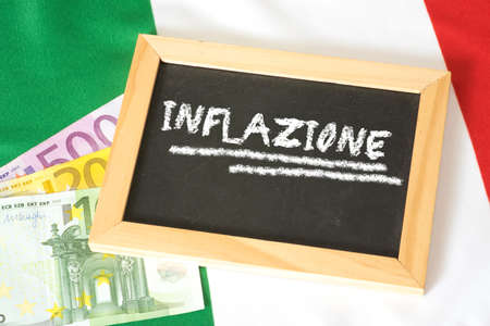 Euro money, Italian flag and inflation