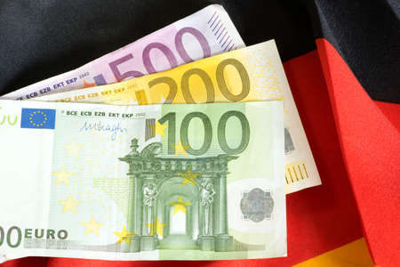 유로 돈과 독일 국기 스톡 콘텐츠