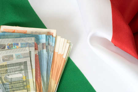 indebtedness: Euro money and Italian flag
