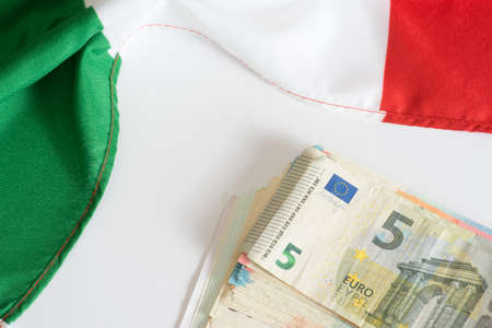 foreign nation: Italian flag and euro money