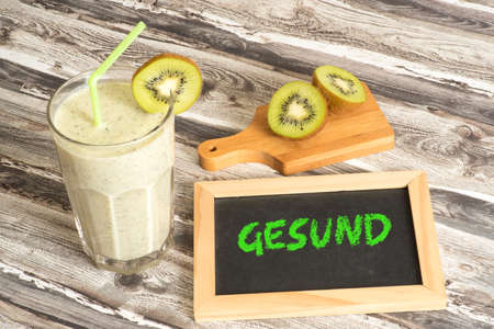 Healthy cocktail with kiwi