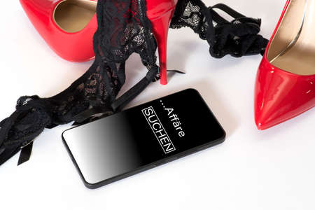 Red high heels, lingerie and looking for an escapade on the phone