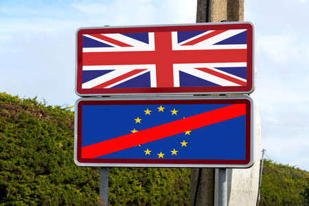 European Union, United Kingdom and Brexit signpost