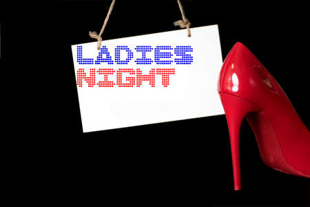 Red high heels and ladies evening
