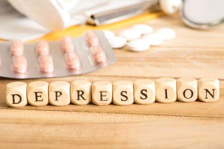 Depressie en medicatie Stockfoto