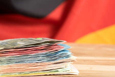 독일 국기와 유로화 스톡 콘텐츠