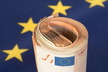 Flag of the European Union EU and Euro banknotes Archivio Fotografico