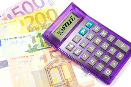 Euro bills, a calculator and the divorce