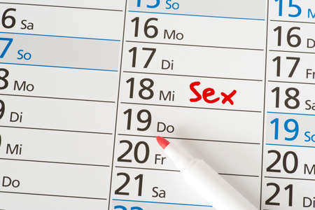 A calendar and appointment for sex