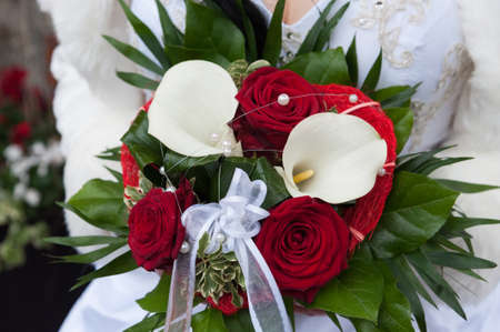 A bridal bouquet at a wedding
