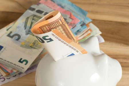 A piggy bank and euro bills