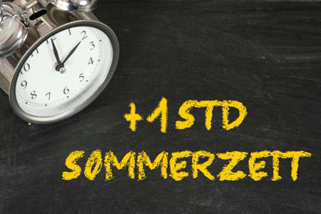 A chalkboard, alarm clock and time change to summer time