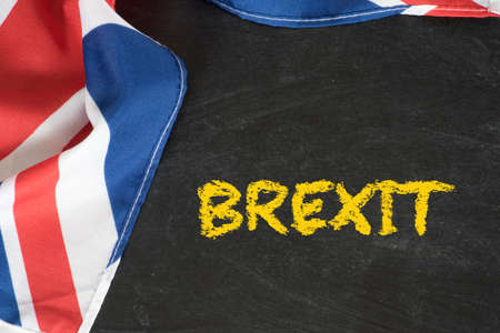 Flag of Great Britain, chalk board and the word Brexit Stock Photo