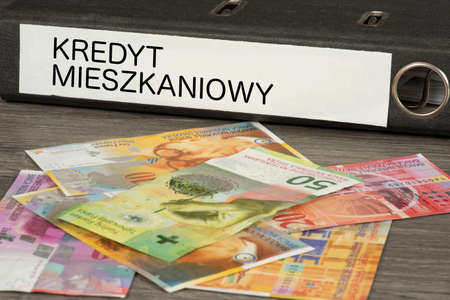 Swiss franc and a folder with the Polish word for credit