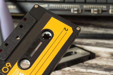 A cassette recorder and music cassettes Stock Photo