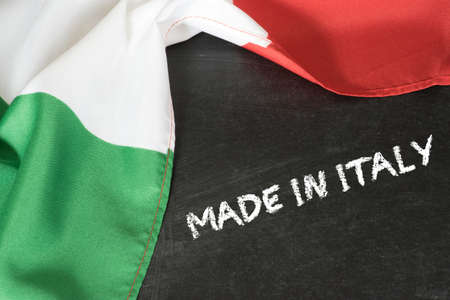 Flag of Italy and slogan Made in Italy 写真素材