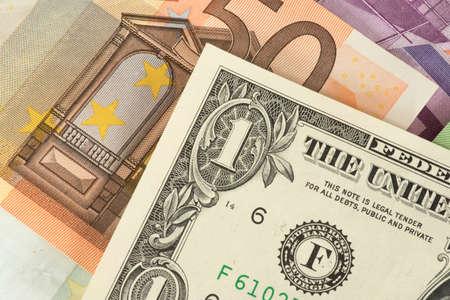 Banknotes Euro and US Dollar