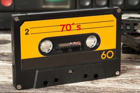 A music cassette with the music of the 70 years