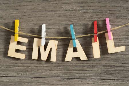The word E-mail on a clothesline 版權商用圖片 - 97879328