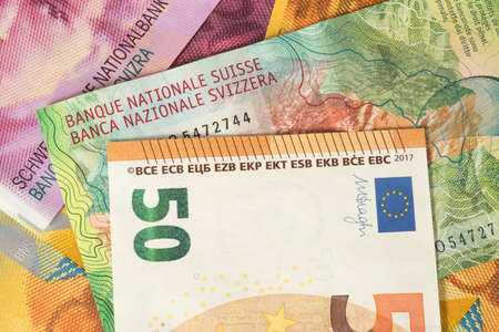 Currency Trading Euro Swiss Francs Stock Photo