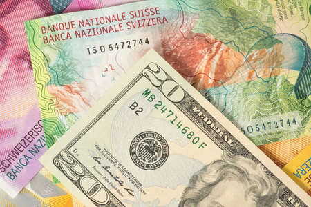 Currency Trading Dollar Swiss Franc Stock Photo
